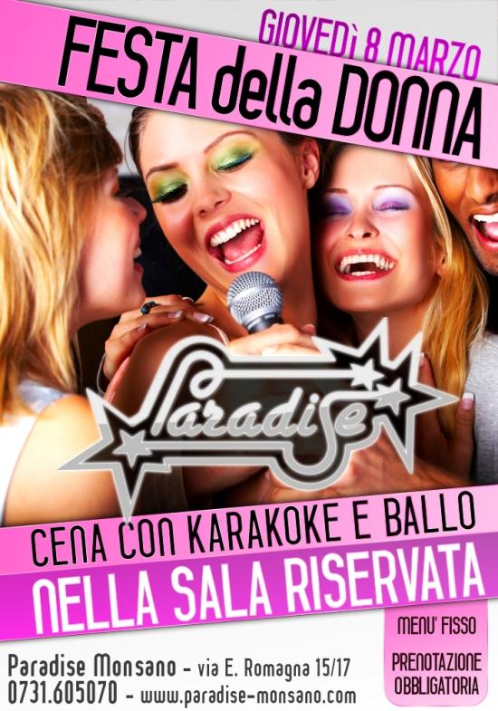 8 marzo festa della donna paradise monsano poster locandina