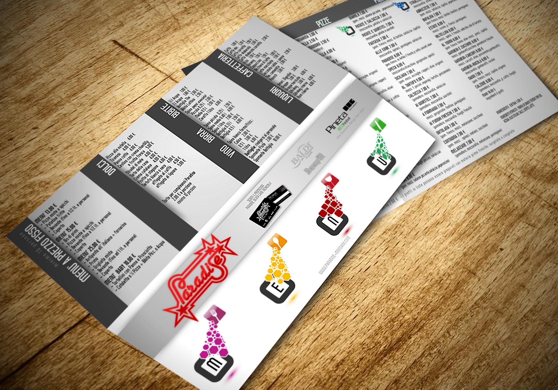 Ideazione e stampa men per ristorante pizzeria a jesi for Idee per bar